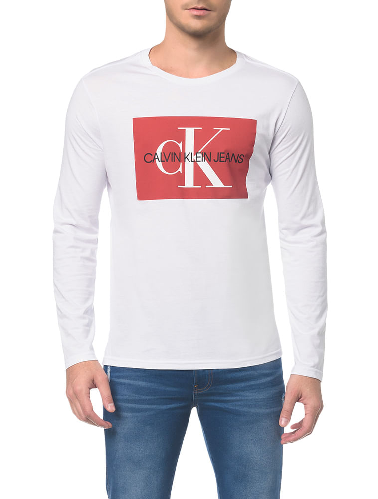b7a7233741167b Camiseta Ckj Ml Est Quadrado Logo - Branco 2