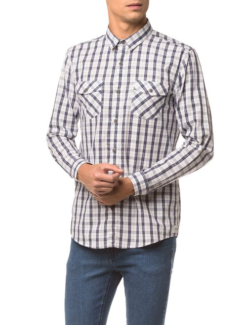 Camisa Ml Ckj Masc Xadrez Etiqueta - Branco 2
