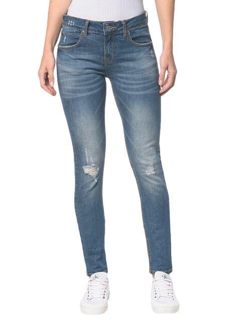 Calça Jeans Five Pocktes Mid Rise Slim Ckj 021 Mid Rise Slim - Azul Médio