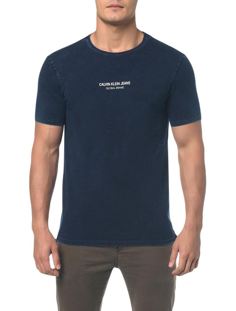 768ff806b5a776 Camiseta Ckj Mc Indigo Logo Cenro Peito