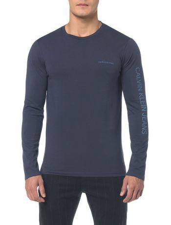 Camiseta-Ckj-Ml-Est-Logo-Peito-E-Manga---Cinza-Azulado---P