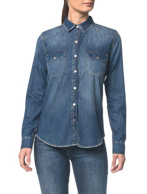 Camisa Jeans Manga Longa - Azul Médio