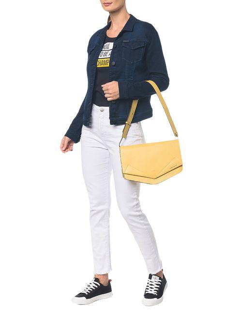 Bolsa Pocket Bag Couro Grande - Amarelo Ouro