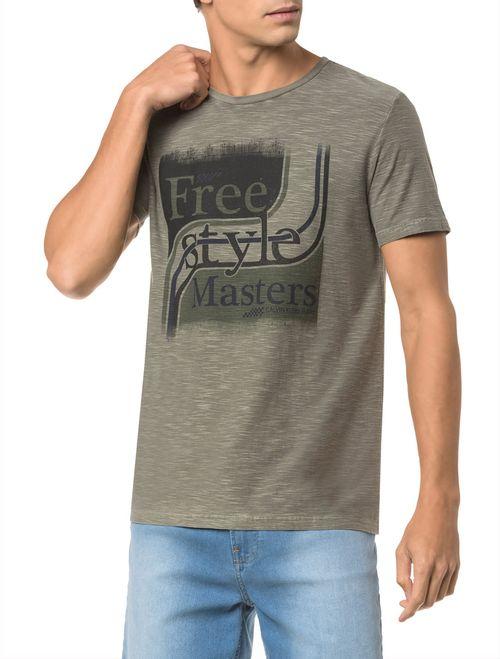 Camiseta Ckj Mc Est Free Style - Oliva