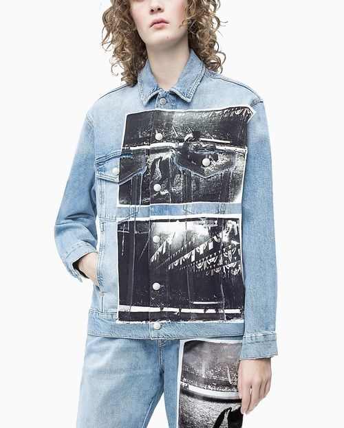Jaqueta Jeans Ckj Fem Andy Warhol Rodeo - Azul Claro