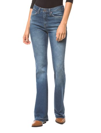Calca-Jeans-Five-Pockets-Ckj-041-Mid-Rise-Flare---Azul-Medio---34