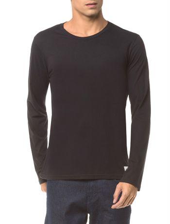 Camiseta-Ckj-Ml-Etiqueta-Barra---Preto---P