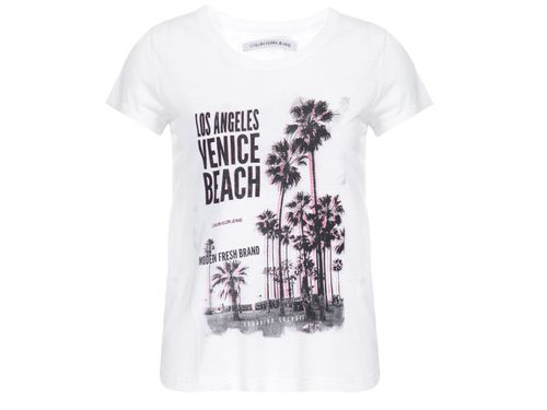 Blusa Ckj M/C Los Angeles Venice Beach - Off White