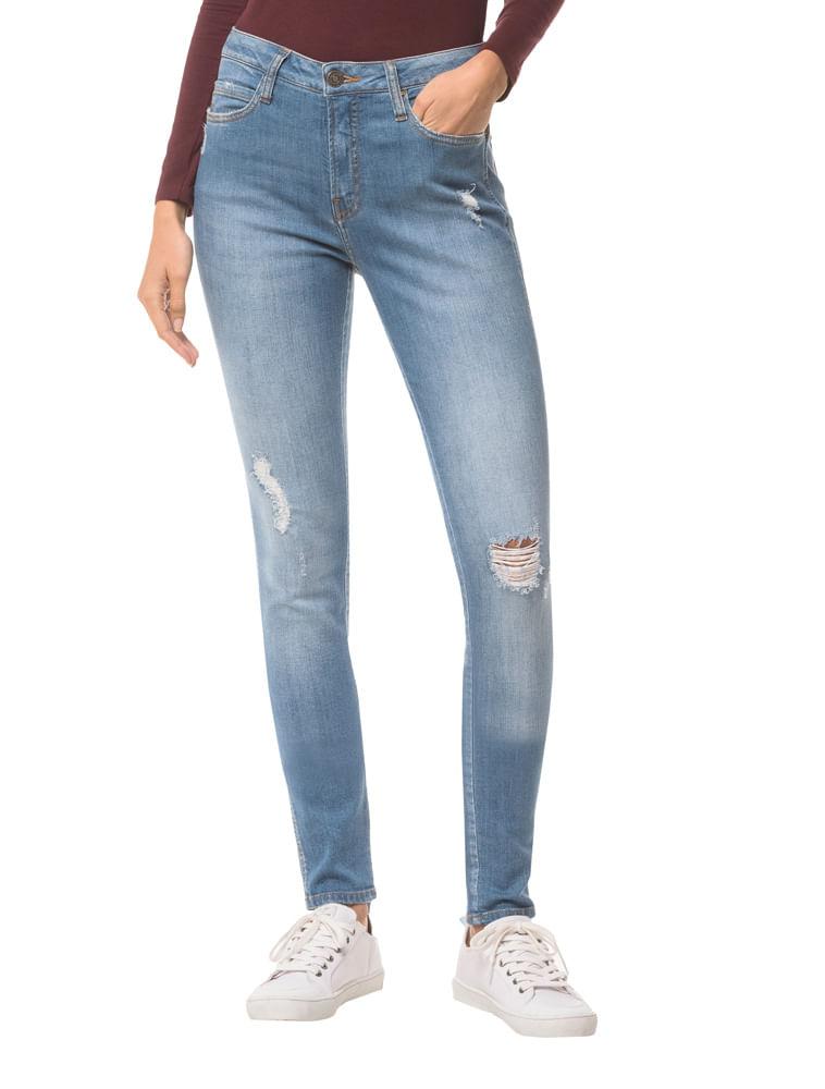 6dca71ec03c7fe Calça Jeans Five Pockets Ckj 001 Super Skinny - Azul Claro
