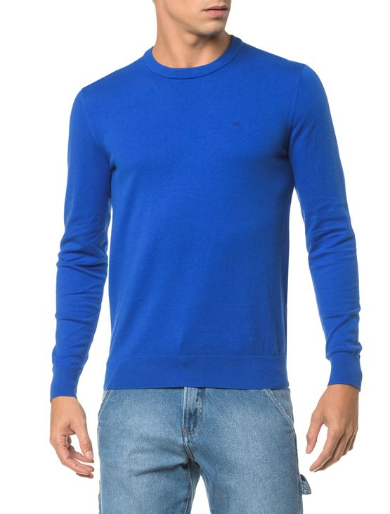 Sweater-Ckj-Masculino-Logo---Azul-Royal-