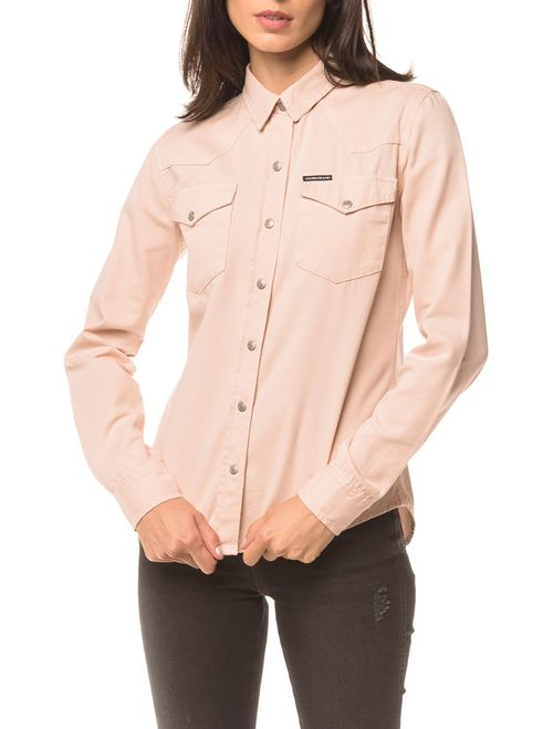 Camisa Color Manga Longa - Rosa Claro