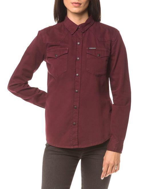 Camisa Color Manga Longa - Bordo