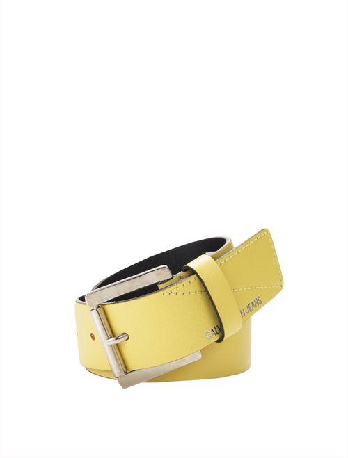 Cinto Médio Couro Fivela Personalizada - Amarelo Ouro