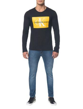 Camiseta-Ckj-Ml-Est-Quadrado-Logo---Preto-