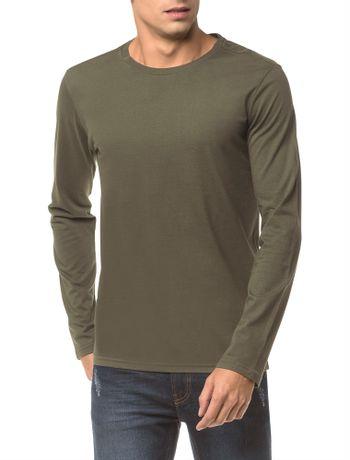 Camiseta-Ckj-Ml-Etiqueta-Barra---Oliva-
