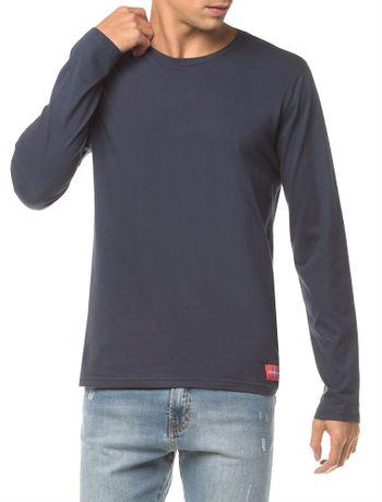 Camiseta-Ckj-Ml-Etiqueta-Barra---Marinho-