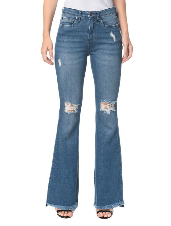 Calca-Jeans-Five-Pockets-Jeans-Ckj-040-High-Rise-Flare---Azul-Claro