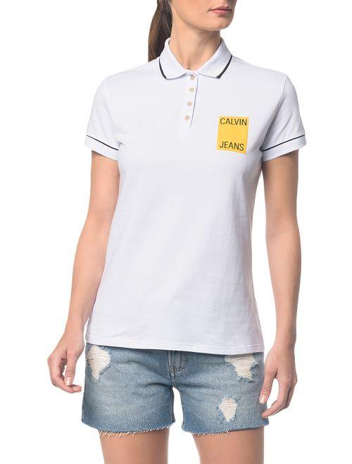 Polo Ckj Fem Logo Calvin Jeans - Branco 2