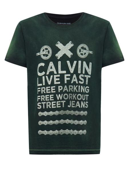 Camiseta Ckj Mc Estampa Calvin Live Fast - Verde
