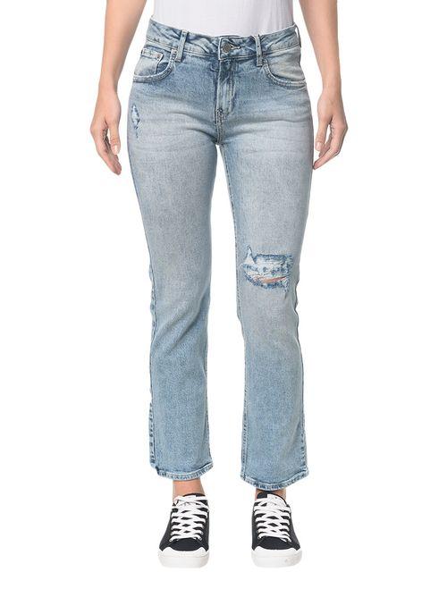 Calça Jeans Five Pockets Ckj 031 Mid Rise Straight - Azul Claro