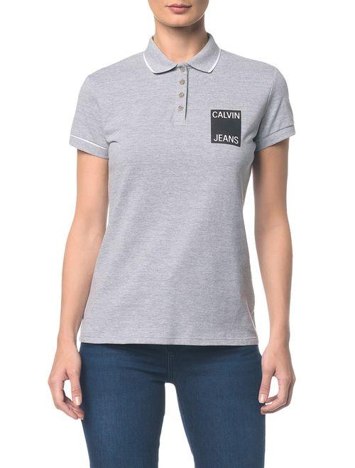 Polo Ckj Fem Logo Calvin Jeans - Mescla