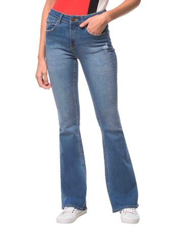 Calca-Jeans-Five-Pockets-Mid-Rise-Flare---Azul-Medio-