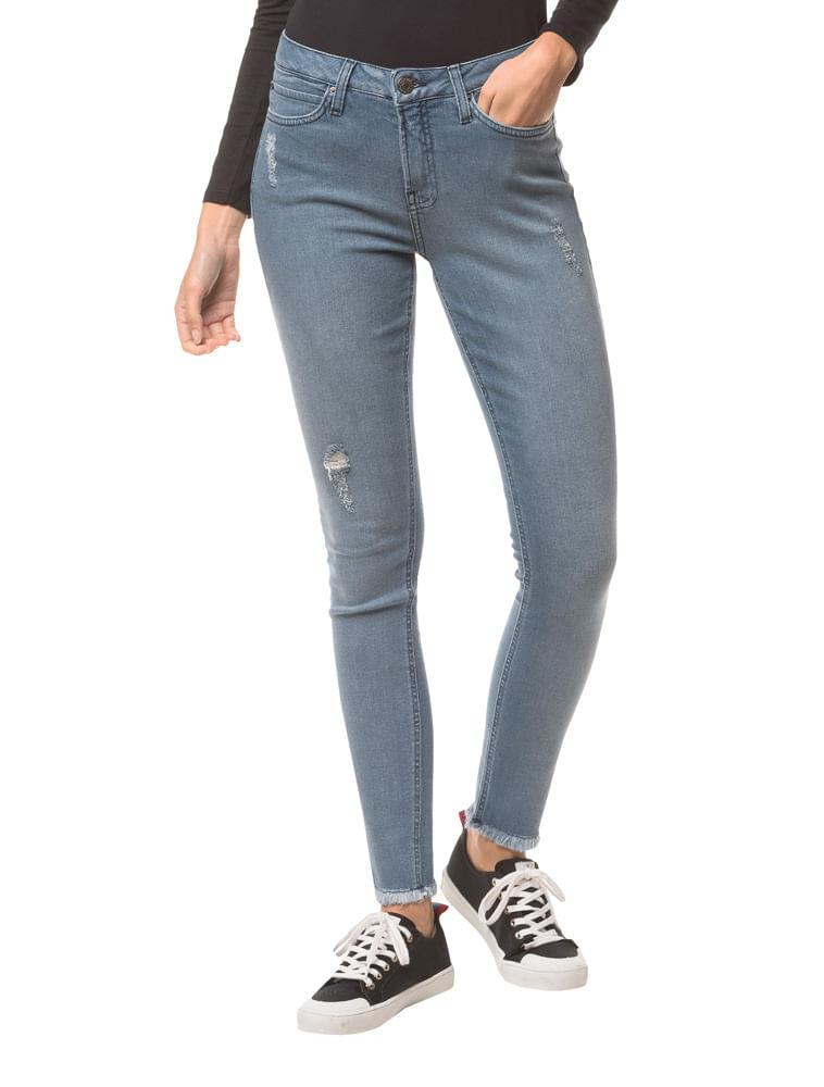 ffa03d910 Calça Jeans Five Pockets Mid Rise Skinny - Azul Claro | Calvin Klein ...