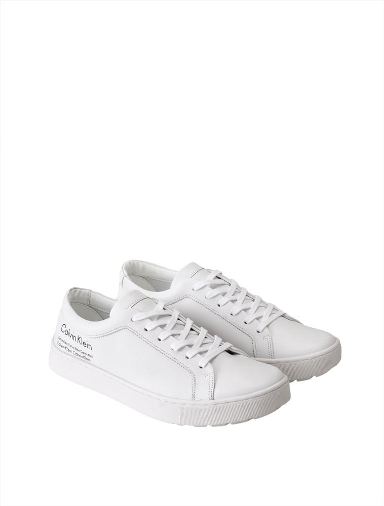 d75efd60fc4f54 Tenis Calvin Klein Masculino Couro - Branco 2