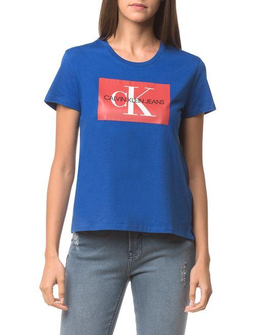 Blusa Ckj Fem Logo - Azul Médio