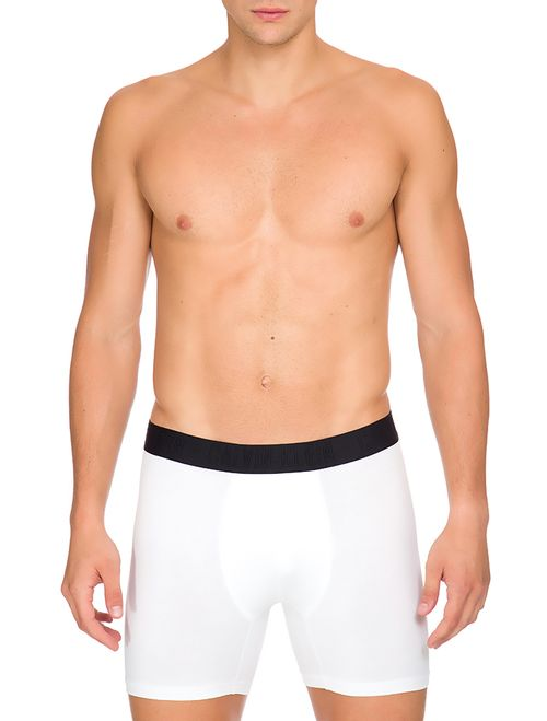 Cueca Boxer Cotton Black - Branco 2