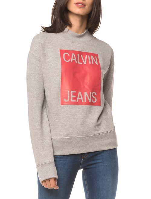 Moletom Ckj Fem Calvin Jeans - Mescla