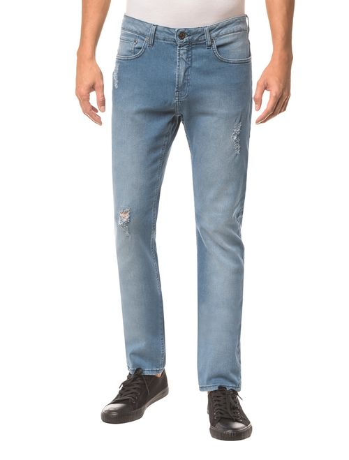 Calça Jeans Five Pockets Ckj 025 Slim Straight -  Azul Claro