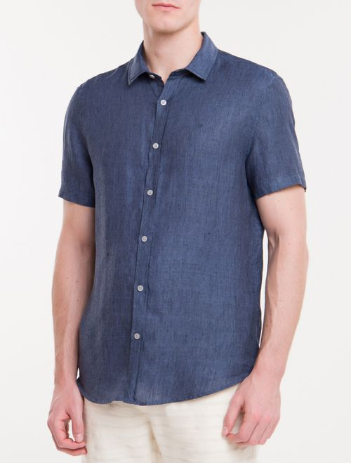 Camisa Mg Curta Regular Cannes Linen - Azul Marinho