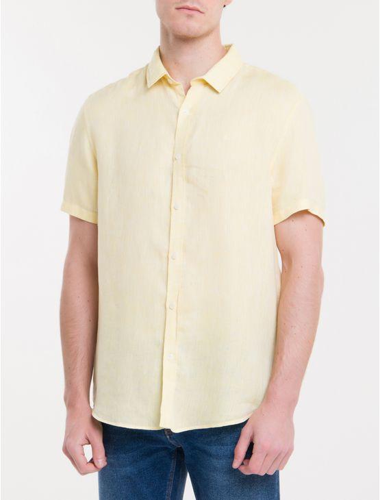 Camisa-Mg-Curta-Regular-Cannes-Linen---Amarelo-Claro