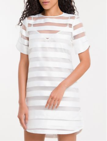 Dress-T-Shirt-Listras-Calvin-Klein---Branco