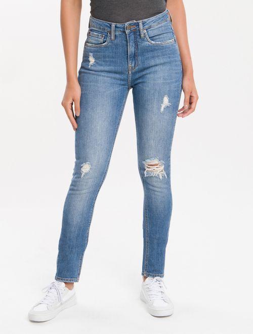 Calça Jeans Five Pockets Ckj 020 High Rise Slim - Azul Médio