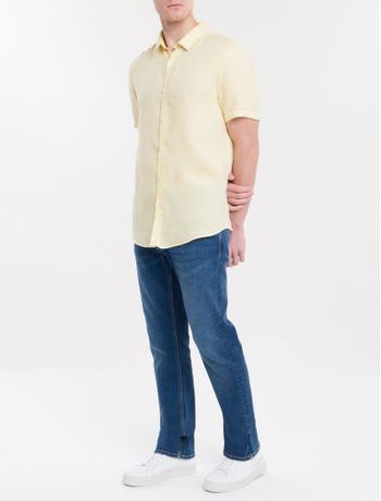 Camisa-Mg-Curta-Regular-Cannes-Linen---Amarelo-Claro