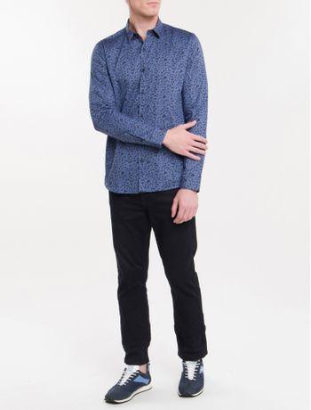 Camisa-Ml-Ckj-Masc-Floral-Silk-Logo---Azul-Escuro