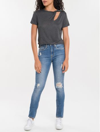 Calca-Jeans-Five-Pockets-Ckj-020-High-Rise-Slim---Azul-Medio