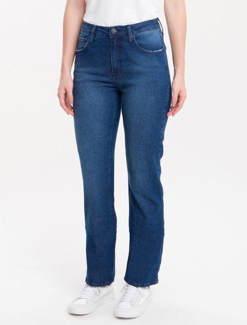 Calça Jeans Five Pockets Mid Rise Straig - Marinho