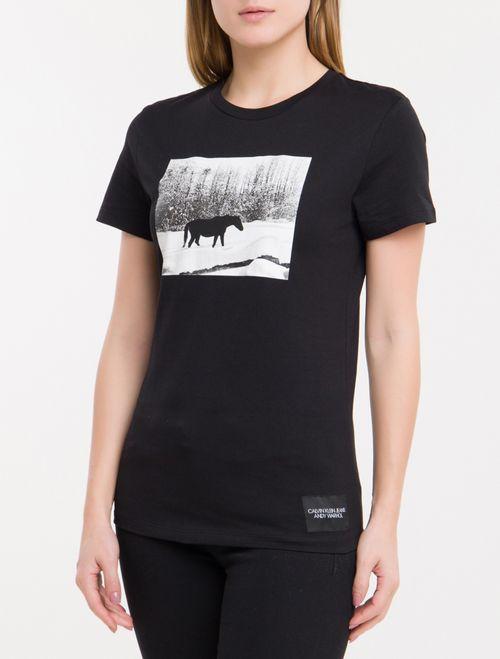 Blusa Ckj Fem Mc Andy Warhol Landscape - Preto