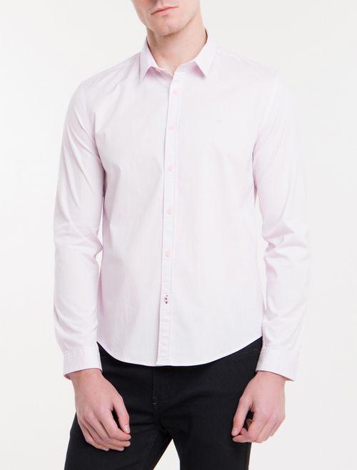 Camisa Ml Masc Slim Básica - Rosa Claro