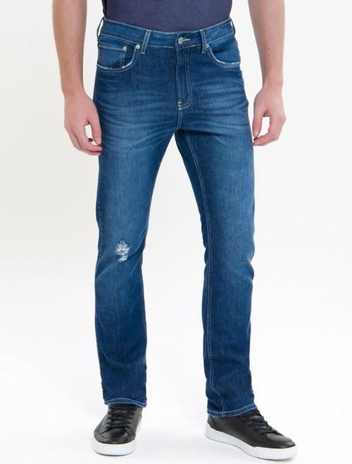 Calça Jeans Five Pockets Slim Straight - Azul Médio