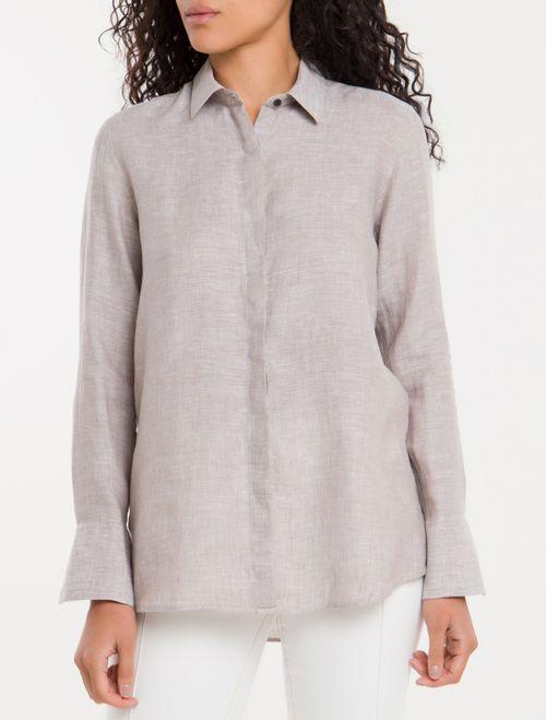 Camisa Linho Lisa - Caqui Claro