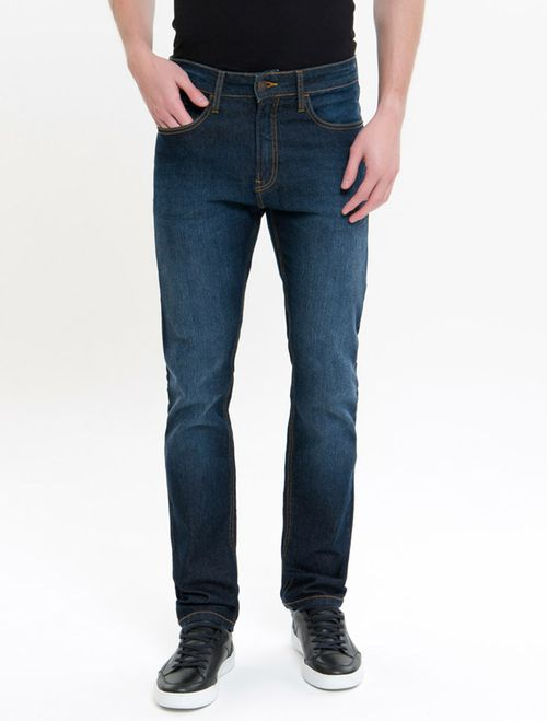 Calça Jeans Five Pockets Slim Straight - Marinho