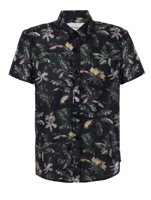 Camisa Mc Ckj Est Floral Jungle Silk Log - Preto