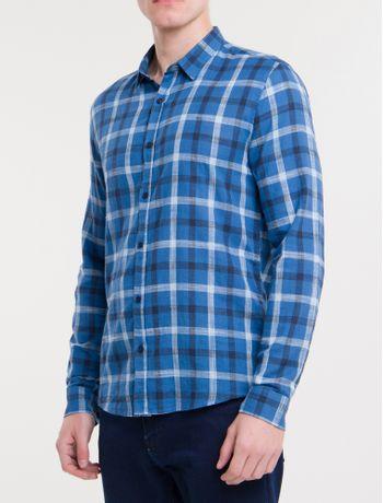 Camisa-Ml-Ckj-Masc-Xadrez-Silk---Azul-Escuro-