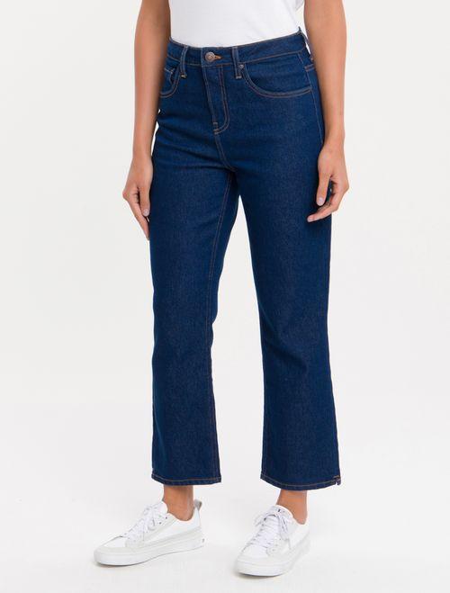 Calça Jeans Five Pockets High R Straight - Marinho