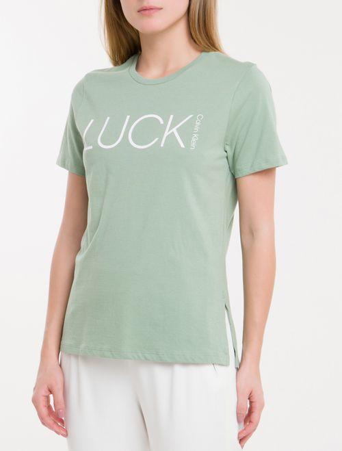 Camiseta Baby Look New Year Luck - Verde Claro