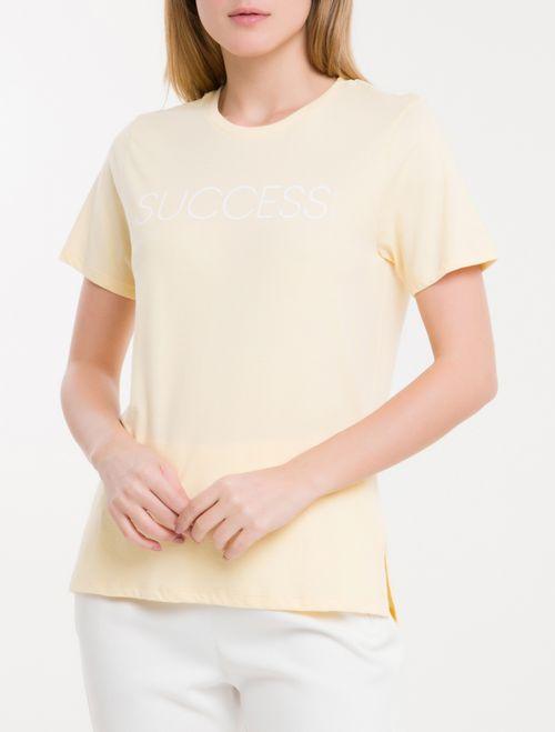 Camiseta Baby Look New Year Success - Amarelo Claro